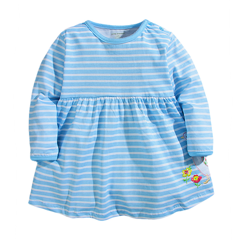 New Fall Spring Girls Blue Dress Cute Duck Embroidered