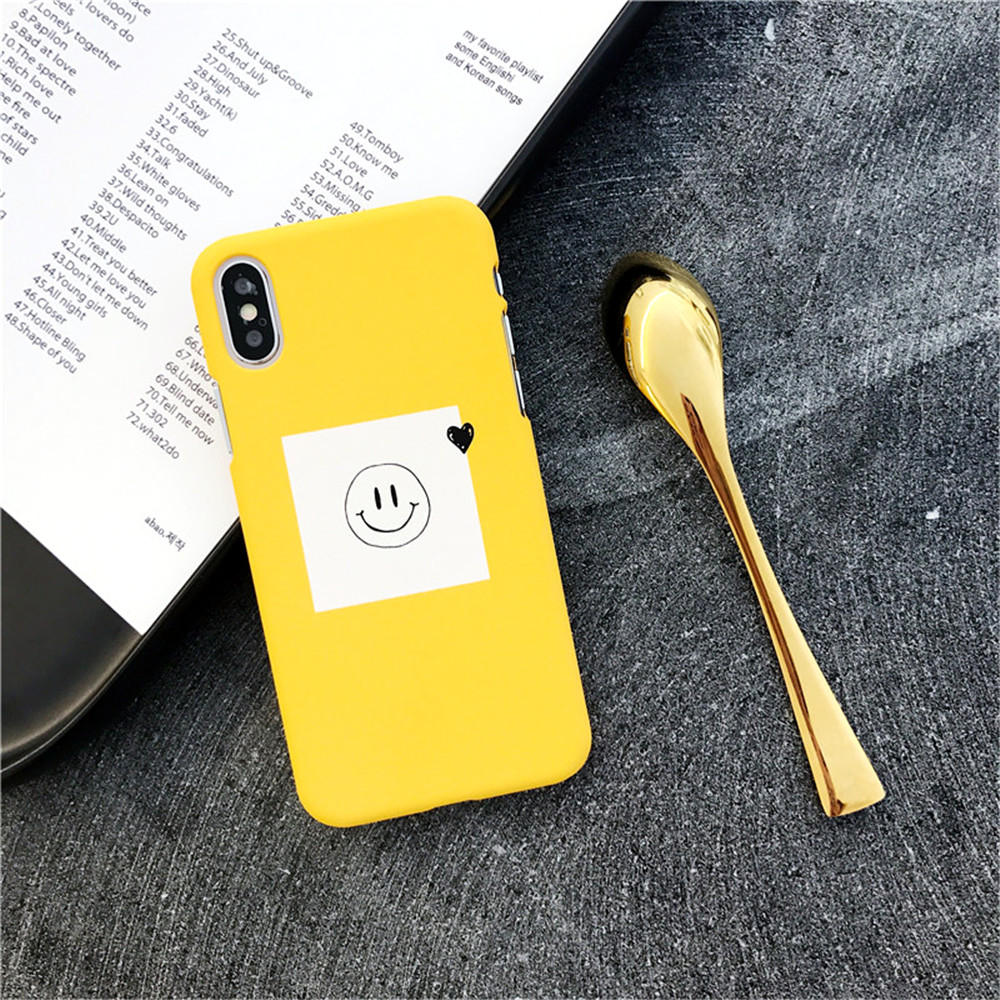 Cases For iPhone X Fashion Simple Smile Expression Painting PC Cover For iPhone 5.8 inch 10 Cute Cartoon Yellow Hard Phone Case
