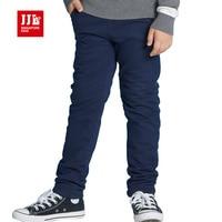 Dark Blue Boys Ruffle Pants Winter Kids Pants Warm Lining Fleece Full Length Children Pants Kids
