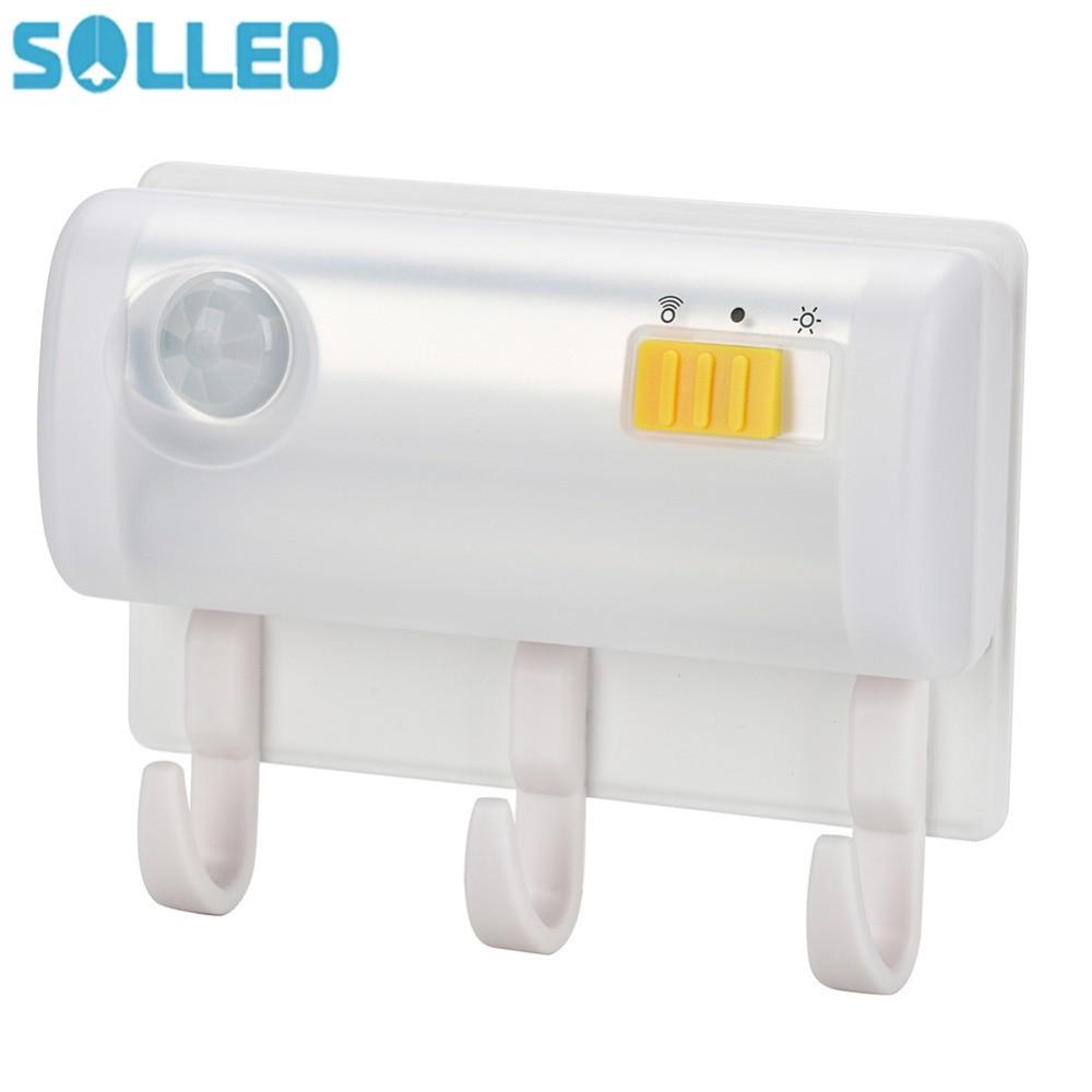 SOLLED Magnetic Motion Sensor Night Light Cordless Battery Powered Led Lights Wall Mount Hook Bathroom Closet Cabinet Lamp