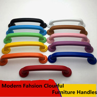 96mm Modern Simple Fashion Colourful Furniture Handles White Blue Black Red Green Yellow Oraange Dresser Drawer