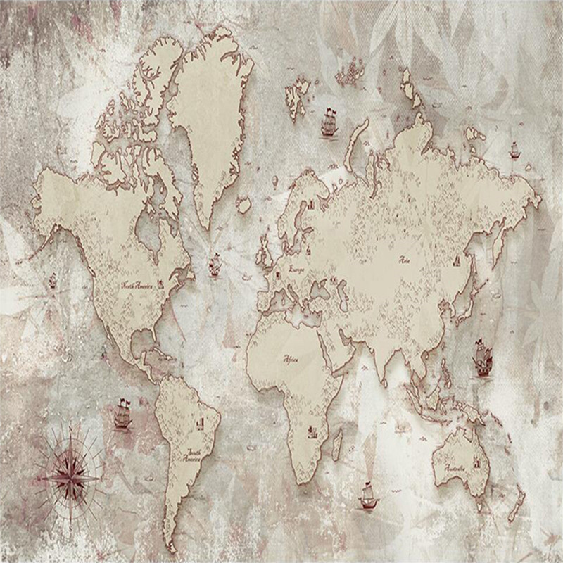 Custom wallpaper retro style old American Nordic world map TV background wall high grade waterproof material in Wallpapers from Home Improvement