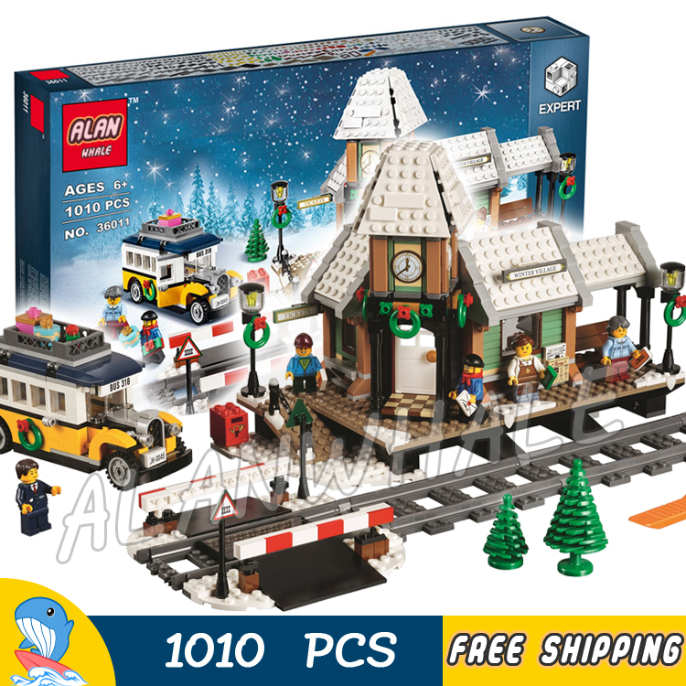 1010pcs Creator Winter Holiday Village Station Toy 36011 Model Building Blocks Children Kids Toys Bricks Compatible With lego lepin 36011 creative series 1010pcs legoinglys village station model sets building nano block bricks toys diy for boy girls