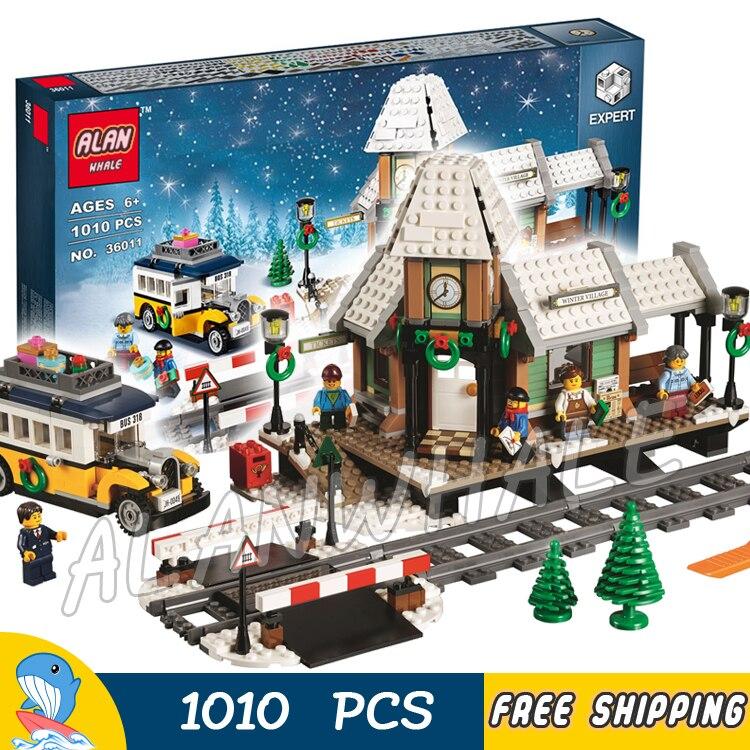 1010pcs Creator Winter Holiday Village Station Toy 36011 Model Building Blocks Children Kids Toys Bricks Compatible With lego недорого