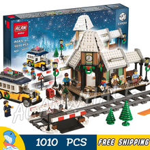 1010pcs Creator Winter Holiday Village Station Toy 36011 Model Building Blocks Children Kids Toys Bricks Compatible With lego