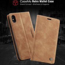 CaseMe 360 Magnetic Case Voor iphone XS Max XR Retro Magnetische Wallet Leather X 5 SE 6 6S 7 8 Plus Flip