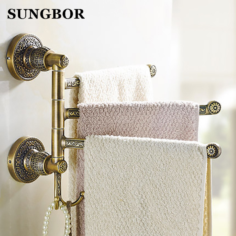Antique carved Rotation Towel Rack 2-5 Layer Activities Towel Bar Towel Rack Bathroom Accessories Folding Towel Bar SL-5901F continental gold product towel rack bar activities multi pole design