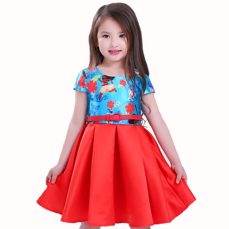 цены Children Kids Princess Dress for Girls Summer Moana Party Dresses Vestidos Infant Baby Girls Clothing Costume with free Belt