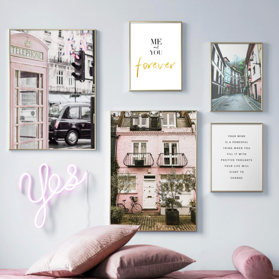 Paris Street Road Car Wall Art Canvas Painting Pink Nordic Posters And Prints Landscape Wall Pictures For Living Room Decor