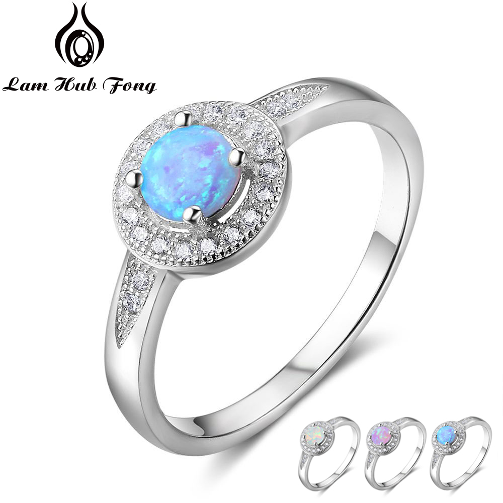 Real Pure 925 Sterling Silver Round Blue Opal Rings For Women Zircon Wedding Jewelry Birthday Gift For Girlfriend (Lam Hub Fong)