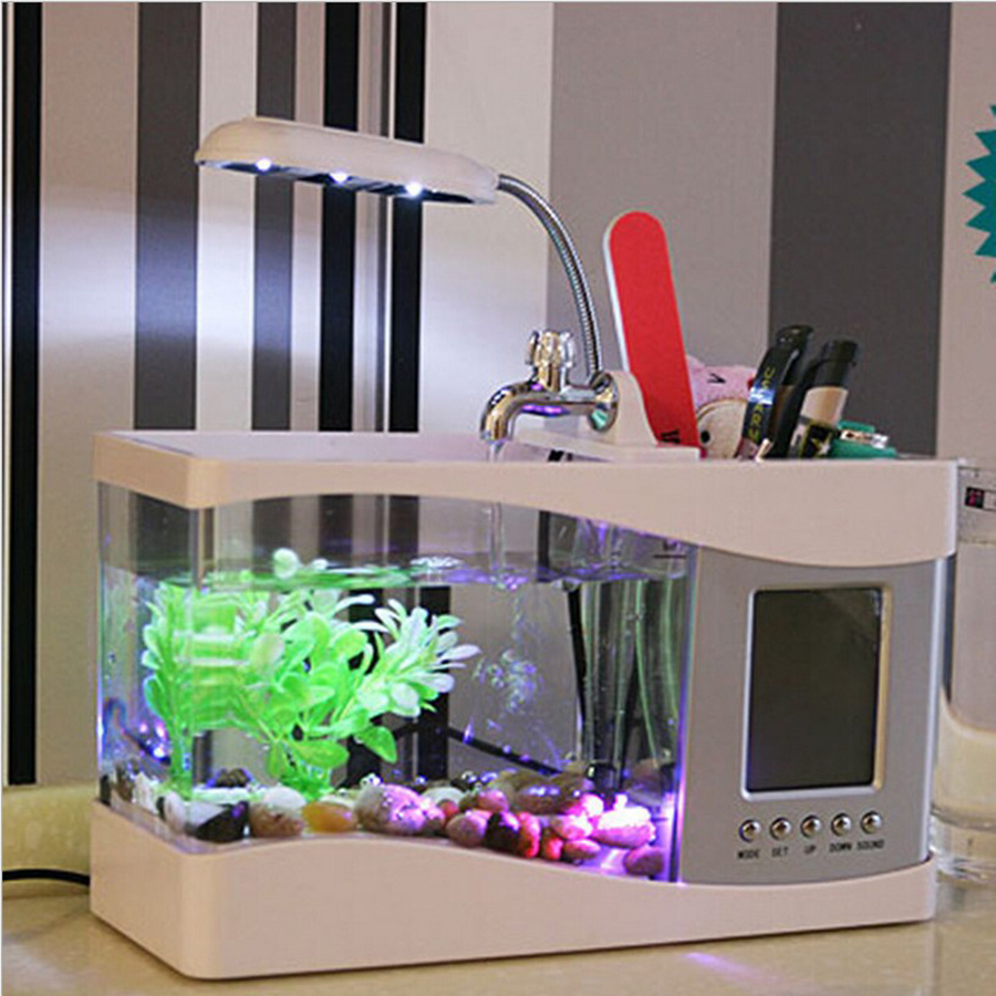 USB MINI Aquarium creative household goods aquarium pen holder clock calendar LED small table lamp