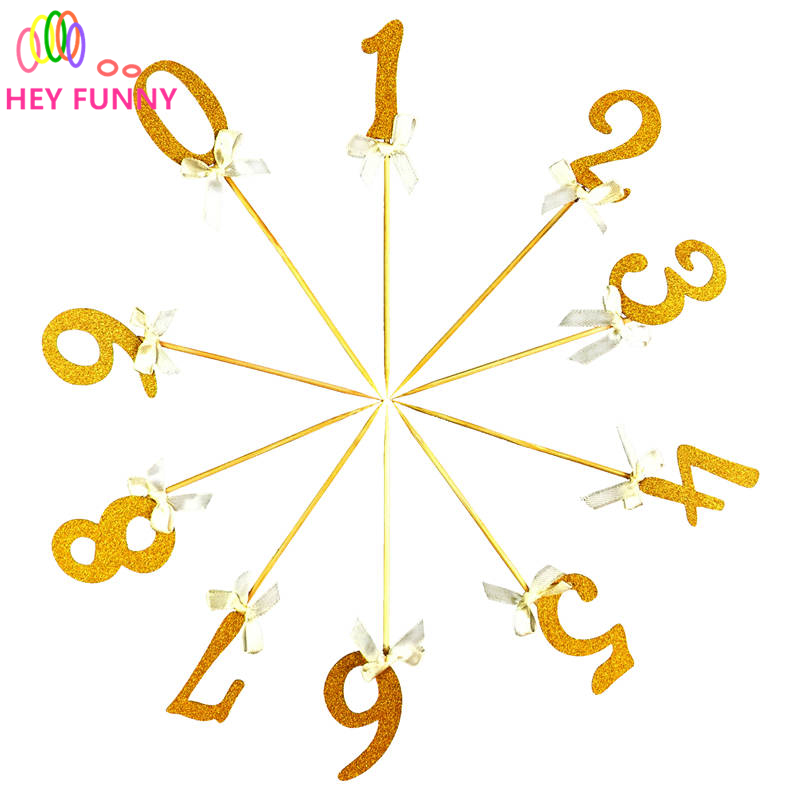 2pcs number 0-9 with bow tie Cake Topper Picks child kids birthday baby shower birthday party wedding decoration