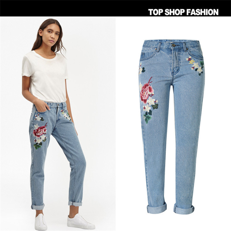 3D pastoral embroidery ladies rose Loose Jeans 1