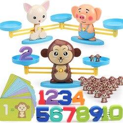 Escala de Equilíbrio de Matemática de Montessori Número Jogo de Tabuleiro Educativo Brinquedo Macaco Porco Figura Animal Cão Bebê Preschool Brinquedos de Matemática
