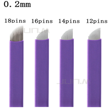 500Pcs 0.2mm 12/14/16/18 Pins Microblading Needle Blade Tattoo Eyebrow Permanent Makeup Needles For Embroidery Manual Tattoo Pen