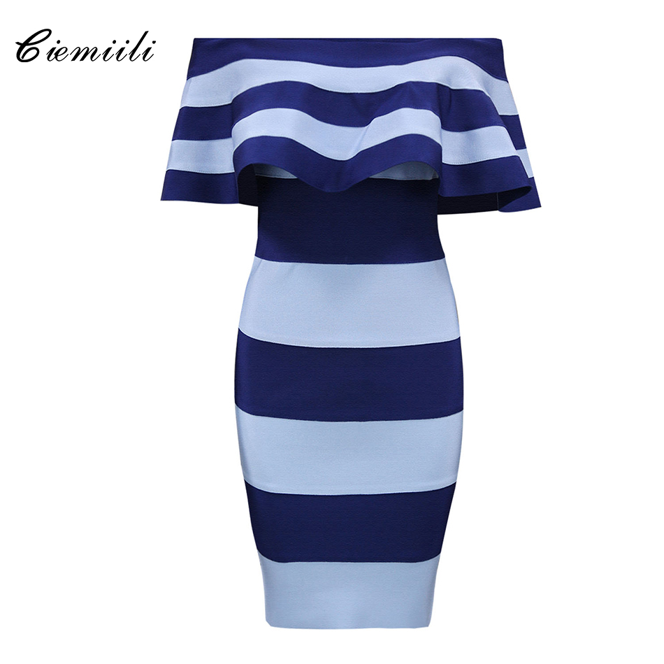 CIEMIILI New Fashion Off Shoulder Patchwork Above Knee Bandage 2018 Celebrity Party Bodycon Women Noble Sexy Dress Club Wear