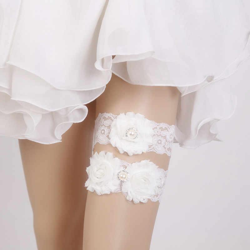 1 Pair Wedding garter Lace garter set bridal garter vintage lace stretch white Shabby flower toss garter with Pearl
