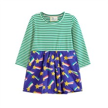 Striped Patchwork Character Girl Dresses Long Sleeve Cute Butterfly Children Clothing Kids Girls Dress Denim Kids Clothes fhadst new striped patchwork character girl dresses long sleeve cute mouse children clothing kids girls dress denim kids clothes