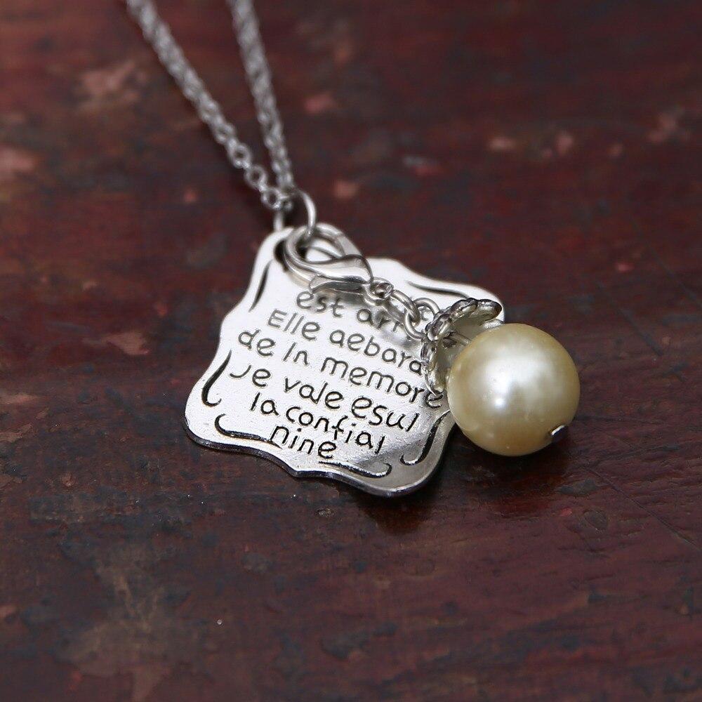 Elegant Women Simulatedpear Pendant Necklace Fashion Square Letter Craved  Necklace Delicate Monogram Necklaces Jewelry