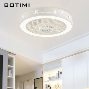 Image 4 - BOTIMI Modern LED Ceiling Fans With Lights For Living Room 220V Cooling Ventilador Round Ceiling Fan Lamp With Remote Control