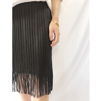 Miyake pleated fringed skirt 2019 summer women's black elastic waist high elastic straight skirt free shipping