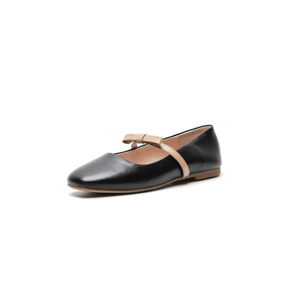 Mocasines Zapatos Decoración Cosido A Del De Cuadrado L29 Nudo Beige Dedo Pie Ballet mariposa Preppy En Mano Lenkisen Estilo Acogedor Mezclados Colores negro Cuero SRf8qqdc
