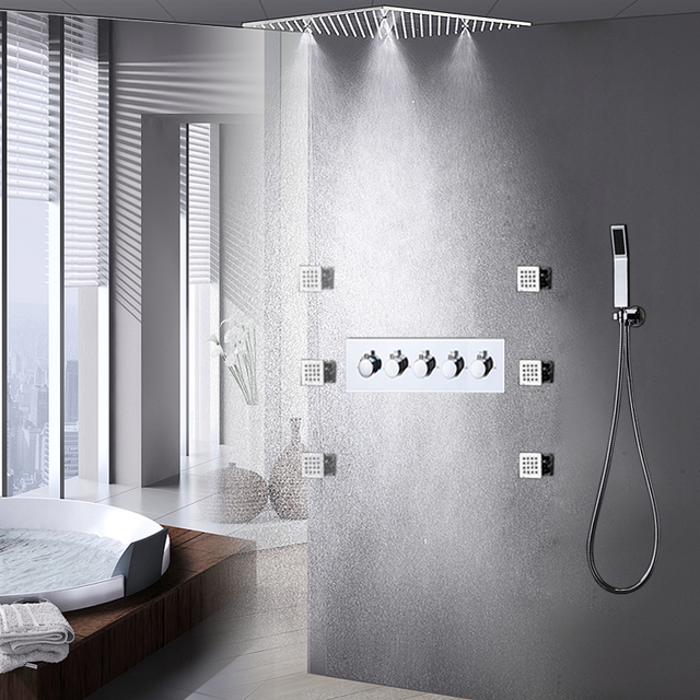 Rainfall Shower Jets System Luxury Ceiling Mounted 2 Functions Mixing Shower Faucets Set / Massage Spray LED Shower Bath