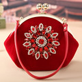 Exquisite Rhinestone Decor Retro Women Evening Handbags Wedding Ceremony Velvet Clutch Vintage Evening Bags