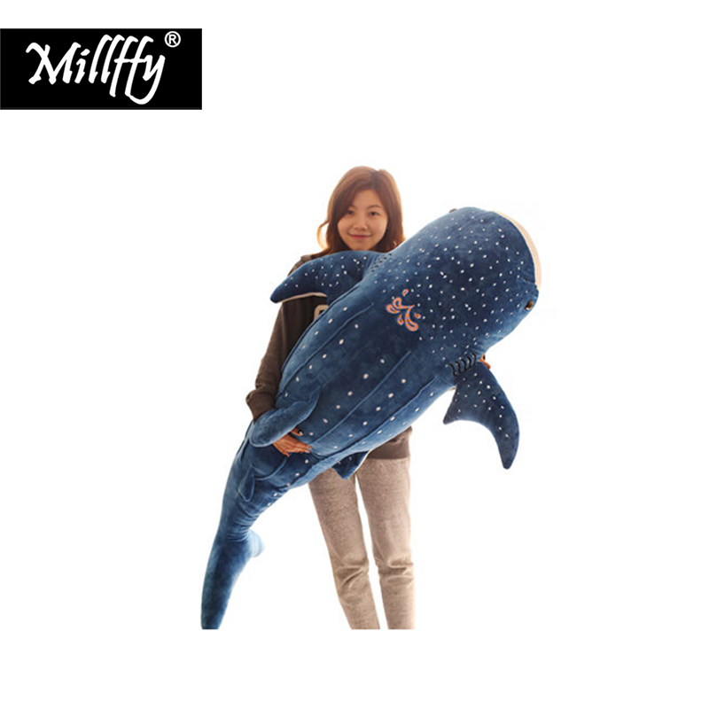 Dropshipping millffy giant <font><b>blue</b></font> <font><b>whale</b></font> shark <font><b>plush</b></font> toy soft toy doll pillow cushion stuffed sea animals peluche for children image