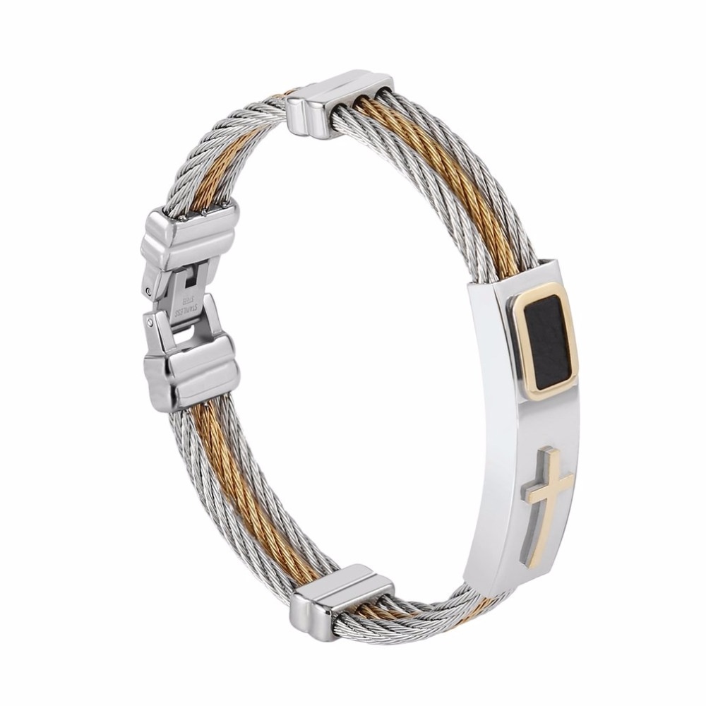 5pcs Creative Design Men 3 Row Wire Chain Bracelet Casual Simple Style Men Stainless Steel Cross Bracelet Best Gifts Jewelry цены