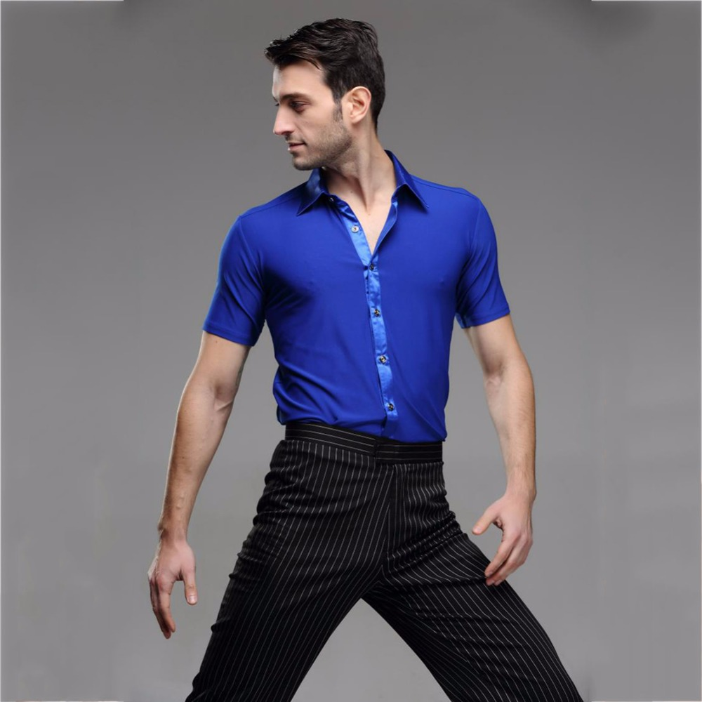 e3db84585 Cheap Latin Dancing Shirts For Male Short Sleeves Blue Shirts Chacha Salsa  Paso Party Economic Men Ballroom Dancing Clothes 7041-in Latin from Novelty  ...