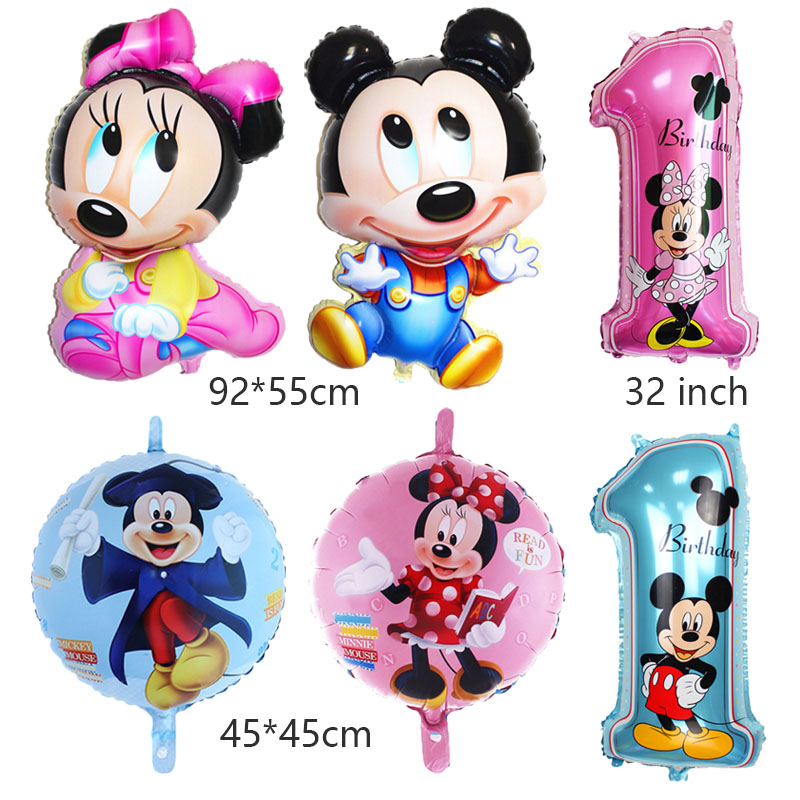Able 14pcs Blue Pink 32 Inch Number Foil Balloons Mickey Minnie Balloon Figure 1 2 3 4 5 6 Year Kid Boy Girl Birthday Party Decor Set Pet Products