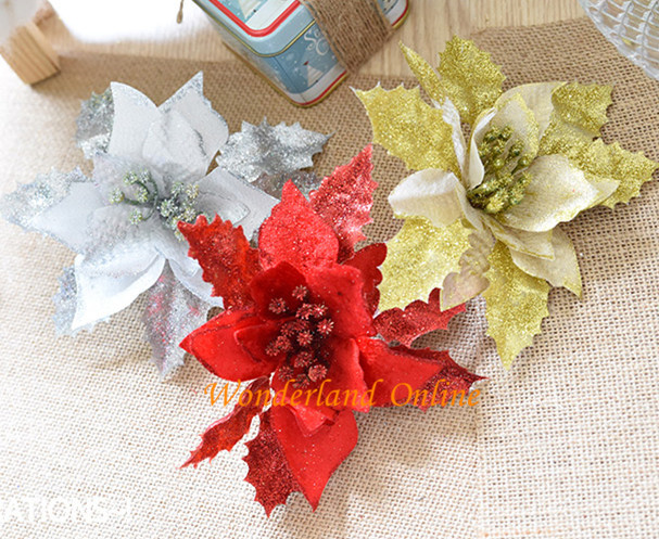 Fashionable 17cm3Colors Silk Christmas Flower Head Holiday Gift Artificial for Day Supplies Free Shipping