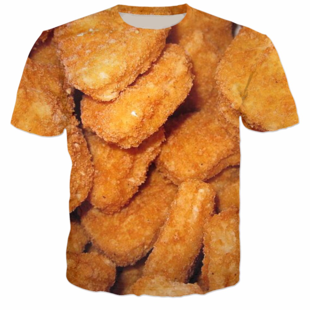 Chicken Nuggets 3D Printed T Shirt Casual Tee Short Sleeve