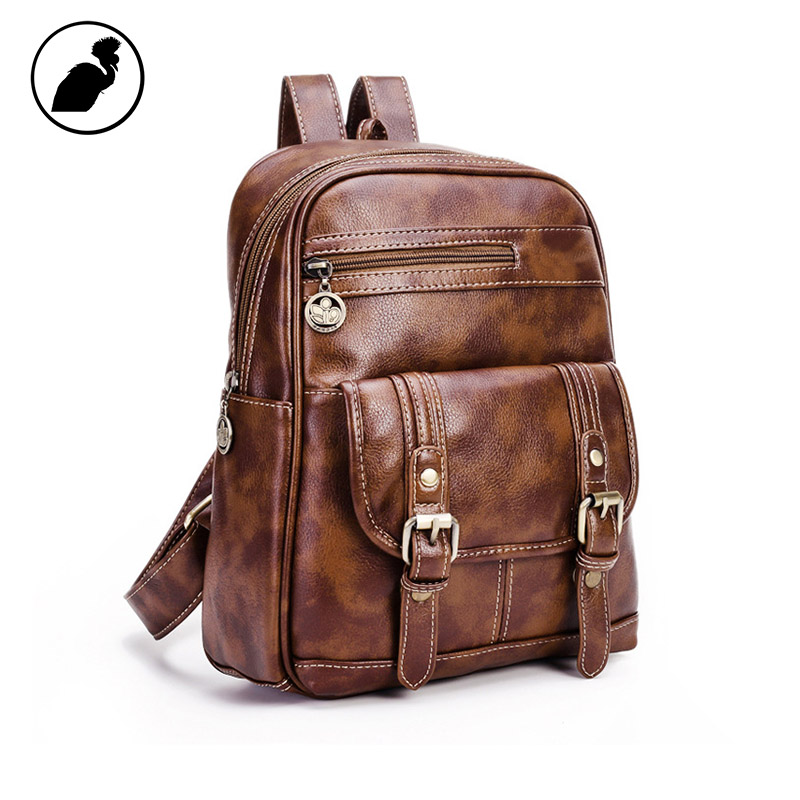 ETONWEAG New 2017 women famous brands litchi rind leather brown zipper mini backpacks fashion travel school