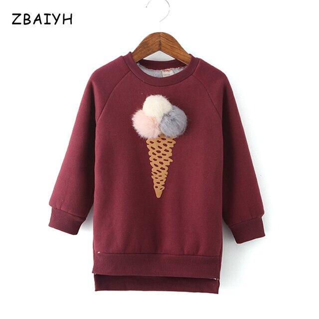 Children Sweater Winter Warm Pullover Baby Clothes Thicken Velvet Coat Ice-cream Colorful Girls Kids Jacket Tops Outwear