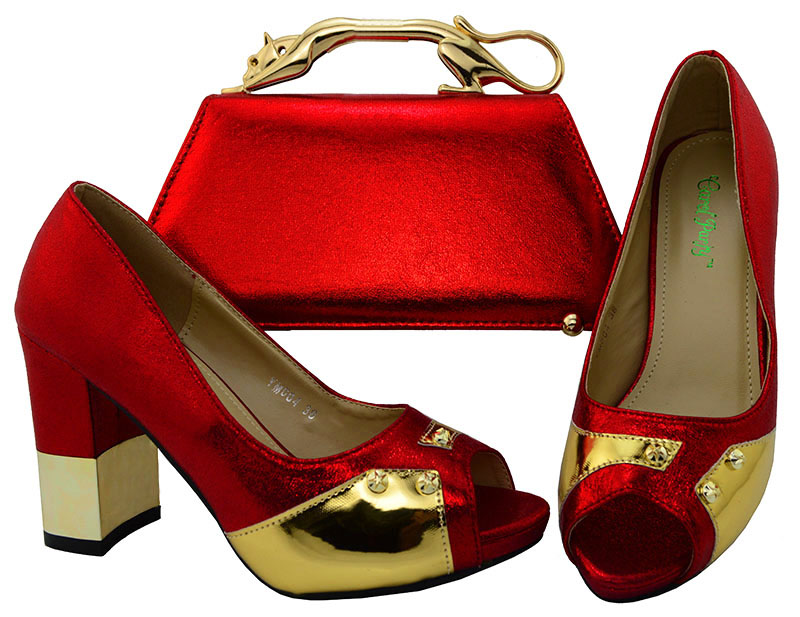 Ladies Shoe And Bag Set Red Shoe and Bag To Match Nigeria Shoe and Bag To Match for Parties Italian Design Shoe Bag Set YM004 shoe and bag to match italian african wedding shoe and bag sets women shoe and bag to match for parties doershow bch1 16