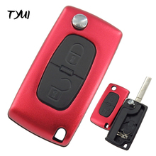 TYUI New Aluminum Red 2 Buttons Car Remote Flip Key Case Fob For Peugeot 307 Key Replace Blade No Groove CE0536