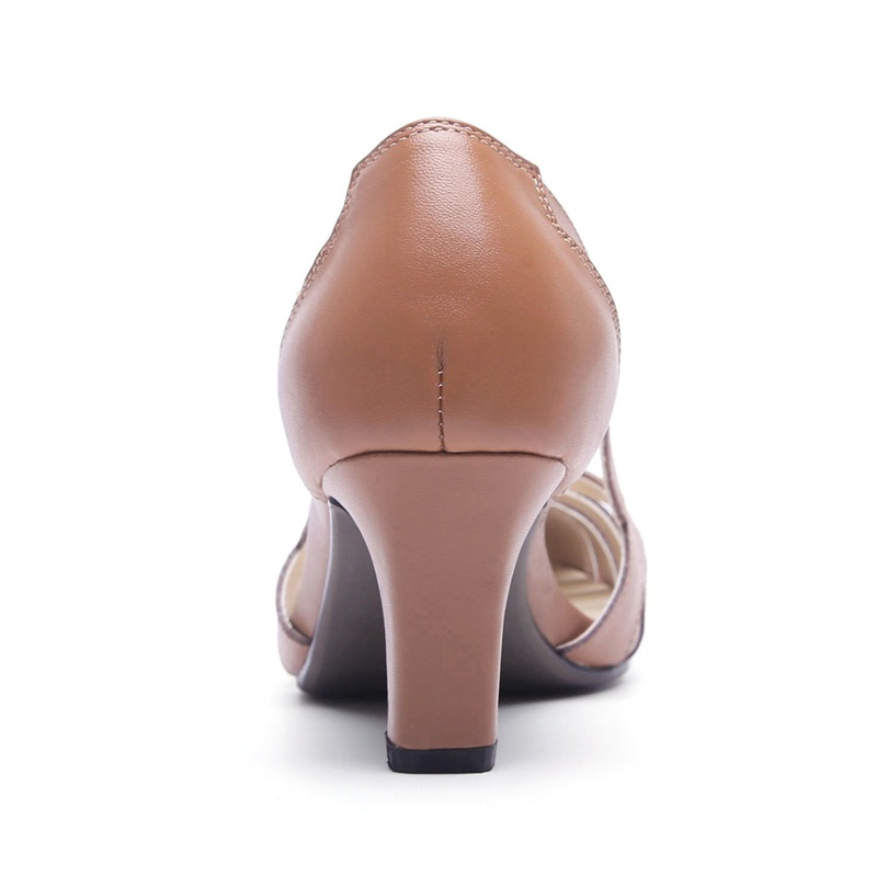 VANKARING fashion genuine leather women pumps shoes new simple middle heels round toe shoes woman dress party office lady shoes