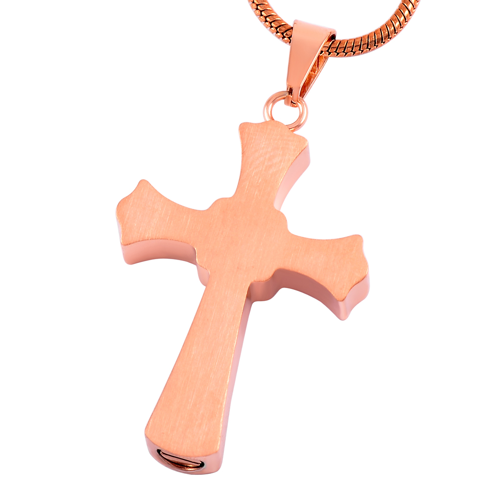 MJD8018 Rose Gold Necklace Black Stainless Steel Cross Shape Cremation Jewelry Urn Pendant