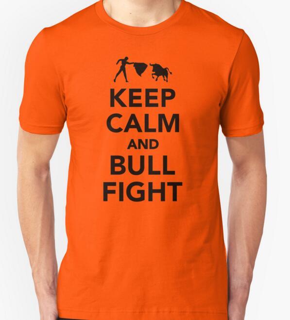 8cc4495c34 Nueva camiseta para hombre 2016 verano moda mantener la calma y toros  impreso hombre casual slim fit de manga corta Camiseta camisa hombres ropa