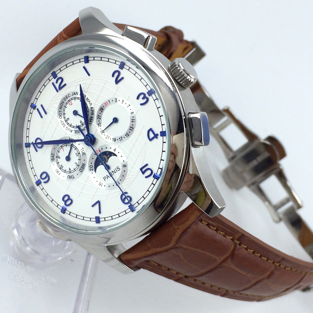 44mm parnis white dial blue marks Moon automatic mens watch все цены