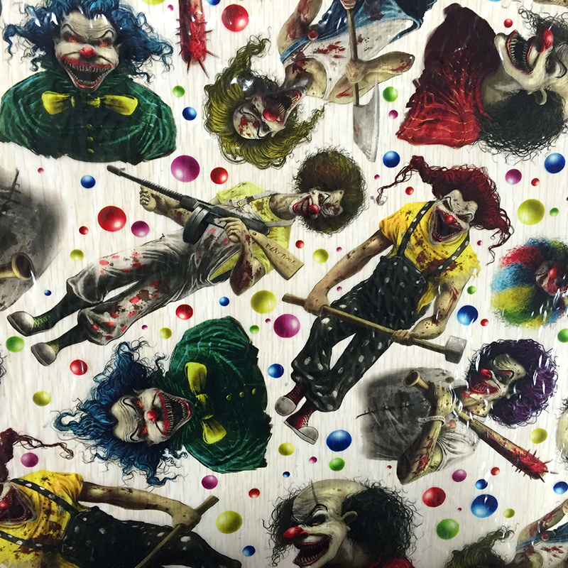 0.5mX2m Clowns Patterns Hydrographics Dipping Film CSKW9046 Hydrographic Film Transfer