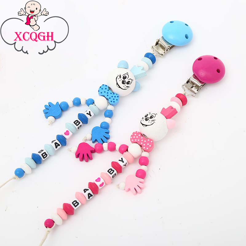 XCQGH Cartoon Wooden Pacifier Chain Nipple Holder Dummy Clip Chain For Infant Toddler Baby Feeding Teether Pacifiers Leash Strap