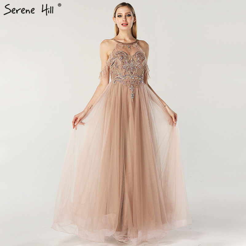 Latest Design O-Neck Beading Diamonds Evening Dresses 2019 Off Shoulder Sexy Tulle Evening Gowns Serene Hill LA6533