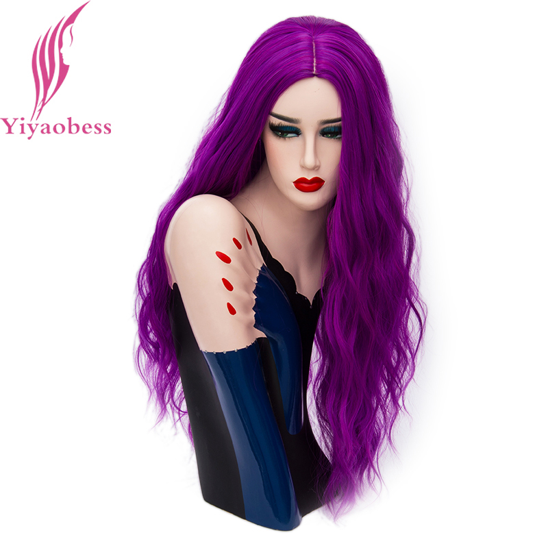 Image 2 - Yiyaobess 70cm Long Wavy Purple Wig Cosplay Synthetic Pink Green Natural Hair Wigs For Women High Temperature Fiber 28 ColorsSynthetic None-Lace  Wigs   -
