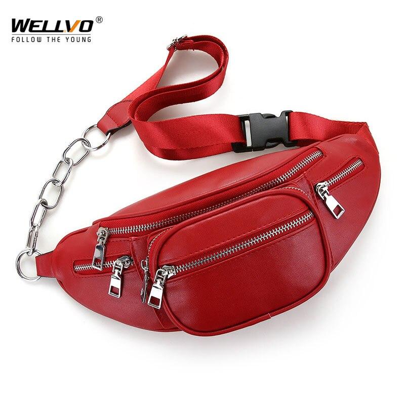 Women Multifunctional PU Leather Waist Packs Mens Portable Chest Bags Mini Shoulder Bags Phone Purse Chain Strap Packs XA30ZC