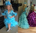 2017 Hot High Low Pageant Dresses For Girls Blue Organza Lace Half Sleeve Kids flower girl Dresses Custom Made Pageant Gowns