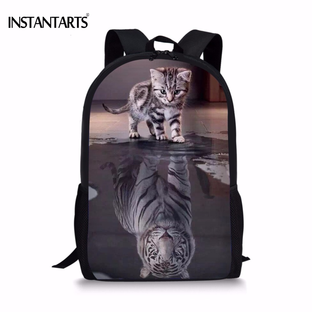 INSTANTARTS Funny 3D Cat Reflection Tiger Print Boys Girls School Bags Primary School Students Bookbag Casual Children Schoolbag special design frameless paintings reflection print