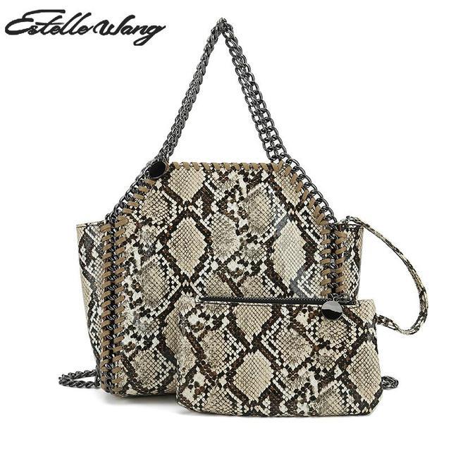 Estelle Wang Shoulder Crossbody Bags Vintage Women 2 colors Serpentine  Colour Matching Trapeze Purses And Handbags f86925cb74c9